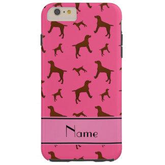 Personalized name pink Vizsla dogs Tough iPhone 6 Plus Case
