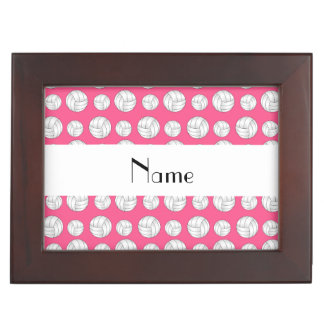 Personalized name pink volleyball balls memory box