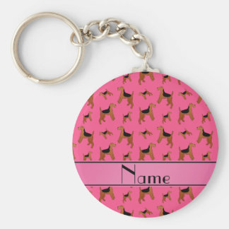 Personalized name pink Welsh Terrier dogs Basic Round Button Key Ring