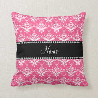Personalized name pink white damask throw pillow