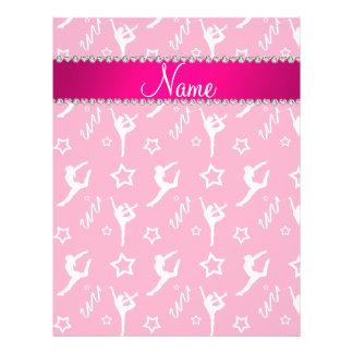 Personalized name pink white gymnastics stars 21.5 cm x 28 cm flyer