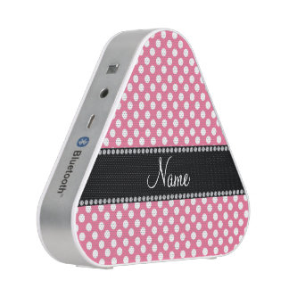 Personalized name pink white polka dots