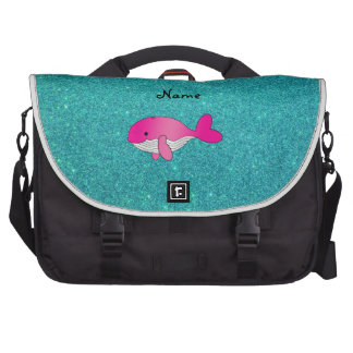 Personalized name pink white turquoise glitter laptop messenger bag