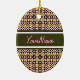 Personalized Name Pink Yellow and Green Batik Patt Ceramic Oval Decoration