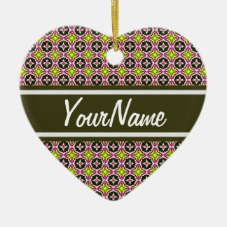 Personalized Name Pink Yellow and Green Batik Patt Double-Sided Heart Ceramic Christmas Ornament
