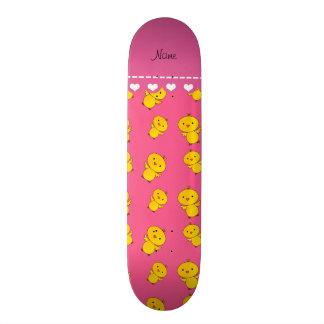 Personalized name pink yellow chicks skateboard decks