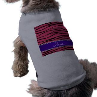 Personalized name pink zebra stripes purple stripe pet shirt