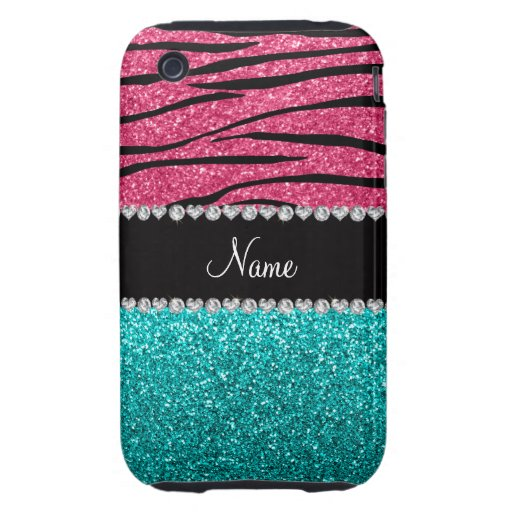 Personalized name pink zebra turquoise glitter tough iPhone 3 cases