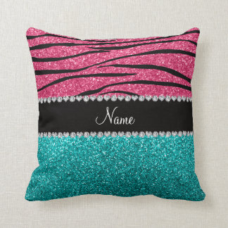 Personalized name pink zebra turquoise glitter cushion