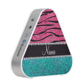 Personalized name pink zebra turquoise glitter speaker