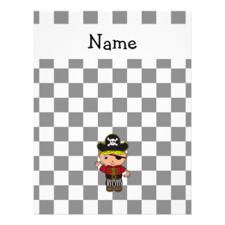 Personalized name pirate black white checkers 21.5 cm x 28 cm flyer