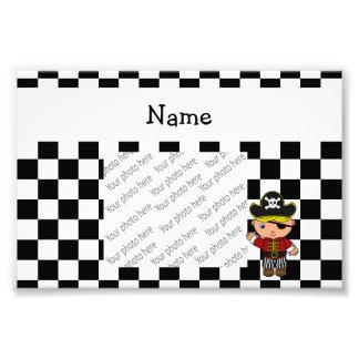 Personalized name pirate black white checkers photo print