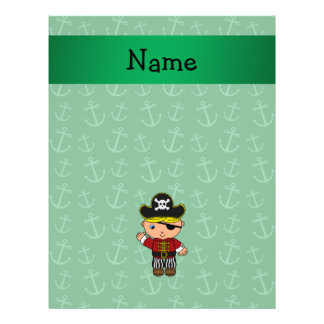 Personalized name pirate green anchors 21.5 cm x 28 cm flyer