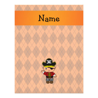 Personalized name pirate orange argyle flyer design