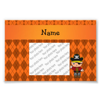 Personalized name pirate orange argyle photograph
