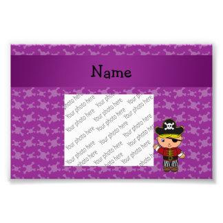 Personalized name pirate purple skulls art photo