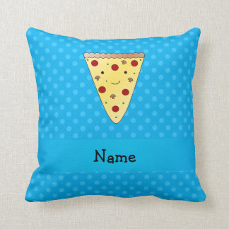 Personalized name pizza blue polka dots cushion