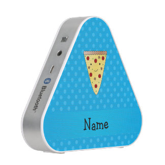 Personalized name pizza blue polka dots speaker