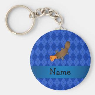 Personalized name platypus blue argyle key ring