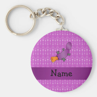 Personalized name platypus purple bubbles key ring