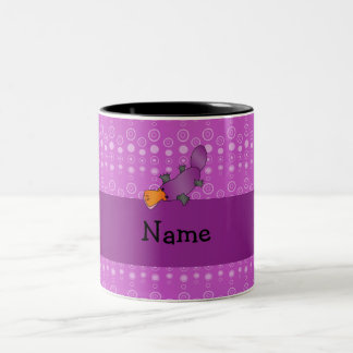 Personalized name platypus purple bubbles Two-Tone mug