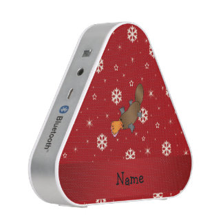 Personalized name platypus red snowflakes bluetooth speaker