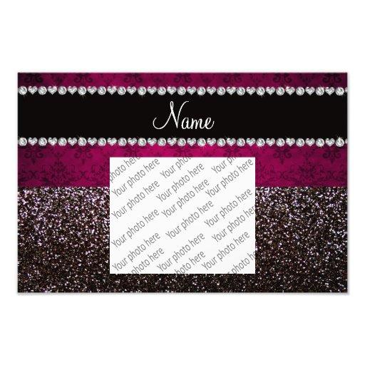 Personalized name plum pink damask black glitter photo print