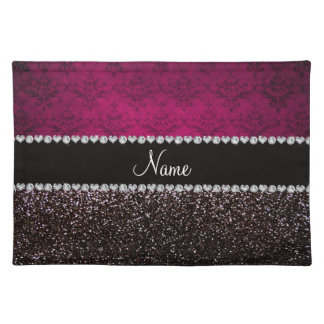 Personalized name plum pink damask black glitter placemat