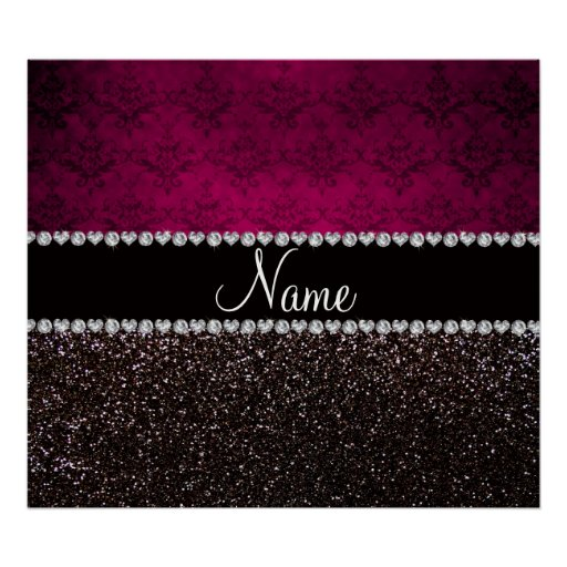 Personalized name plum pink damask black glitter poster