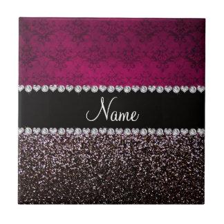 Personalized name plum pink damask black glitter tile
