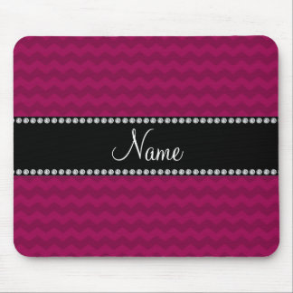 Personalized name plum purple chevrons mouse pad