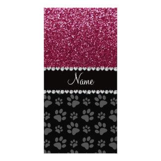 Personalized name plum purple glitter black paws customized photo card