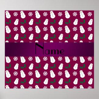 Personalized name plum purple snowman christmas print