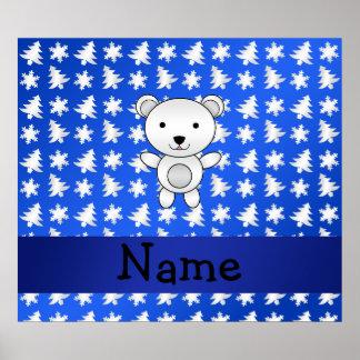Personalized name polar bear blue snowflakes print