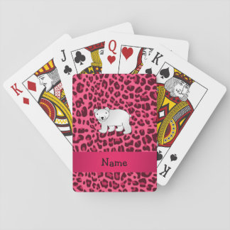Personalized name polar bear pink leopard print playing cards