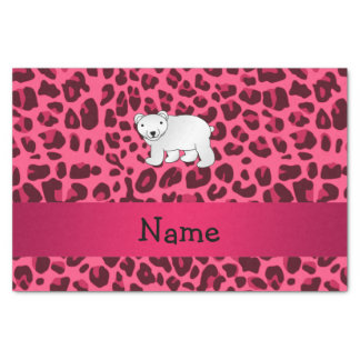 Personalized name polar bear pink leopard print tissue paper
