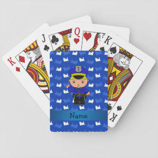 Personalized name policeman blue trains playing cards