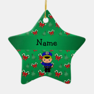 Personalized name policeman green candy canes bows ceramic star decoration