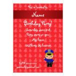 Personalized name policeman red christmas trees custom announcement