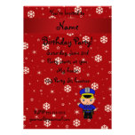 Personalized name policeman red snowflakes card