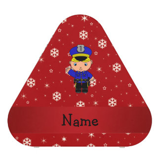 Personalized name policeman red snowflakes speaker