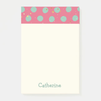 Personalized Name Polka Dot with Tiny Stars Post-it Notes