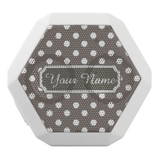 Personalized Name Polka Dots Pattern Gifts White Boombot Rex Bluetooth Speaker