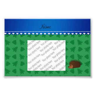 Personalized name porcupine green trees acorns photo art
