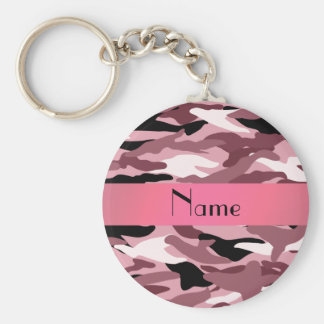 Personalized name pretty pink camouflage basic round button key ring