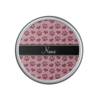 Personalized name pretty pink hearts and paw print speaker