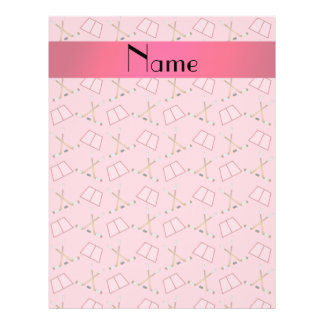 Personalized name pretty pink hockey pattern 21.5 cm x 28 cm flyer