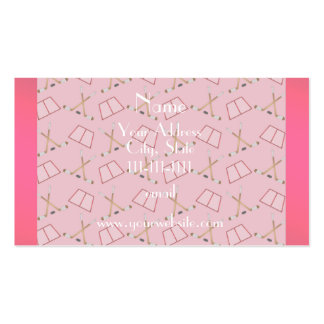 Personalized name pretty pink hockey pattern pack of standard business cards