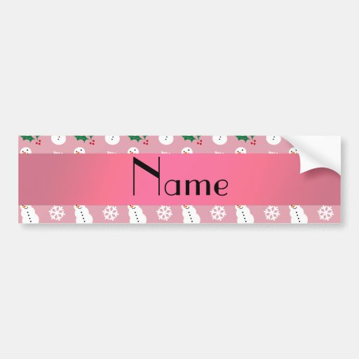 Personalized name pretty pink snowman christmas bumper stickers