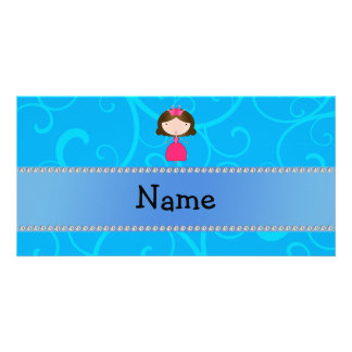 Personalized name princess blue swirls photo greeting card